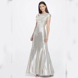 Tahari ASL | Metallic Foil Ruched Gown